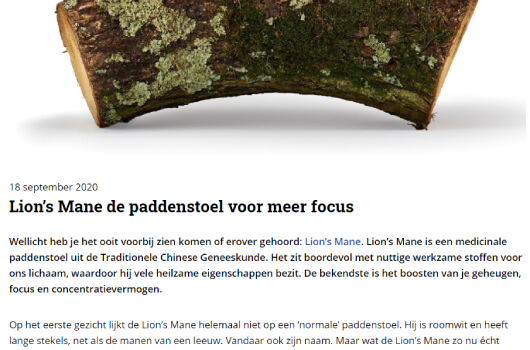 Zandvoorste Courant over de Lion's Mane Mushrooms4Life