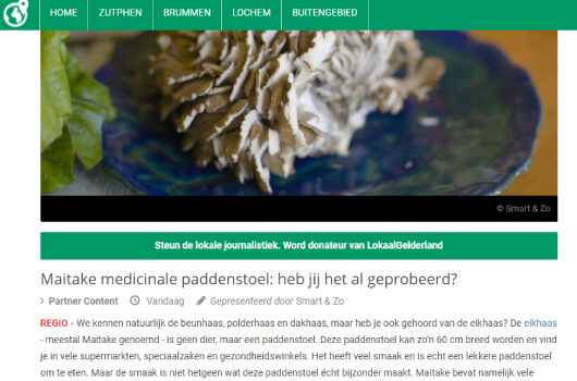 Lokaal Gelderland over de Maitake paddenstoel